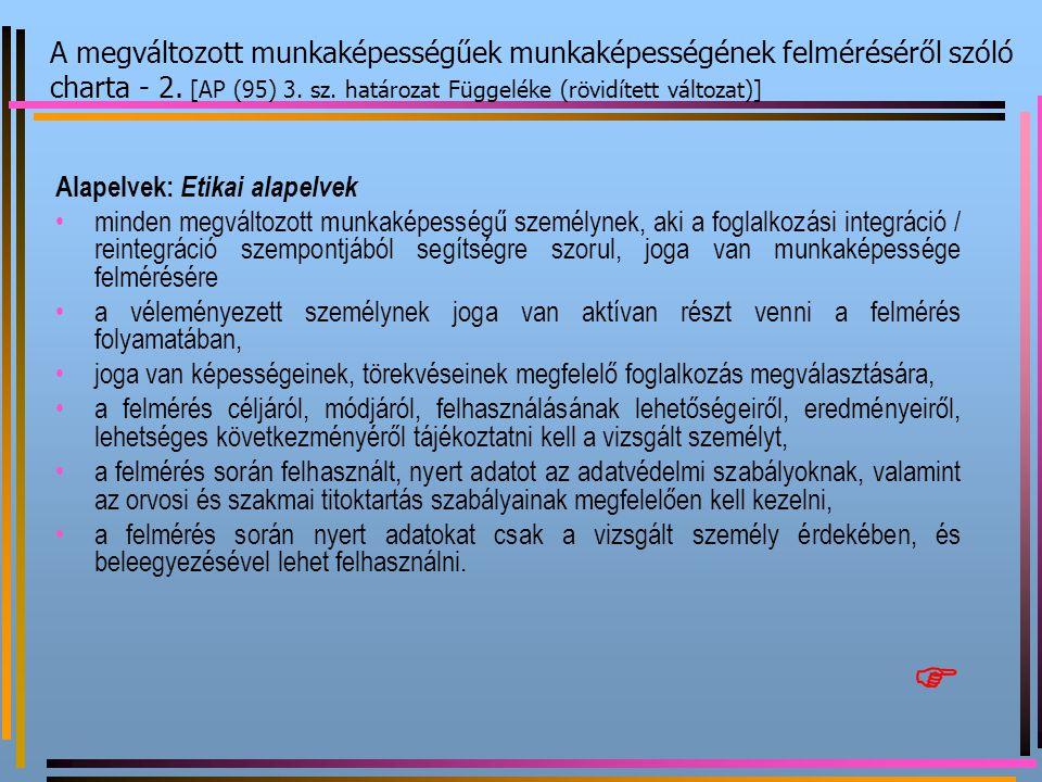 A megváltozott munkaképességűek munkaképességének felméréséről szóló charta - 2. [AP (95) 3. sz. határozat Függeléke (rövidített változat)]